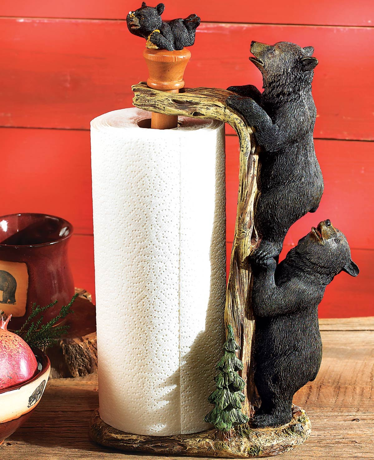 Black Bear Paper Towel Holder - Cabin Kitchen Decor