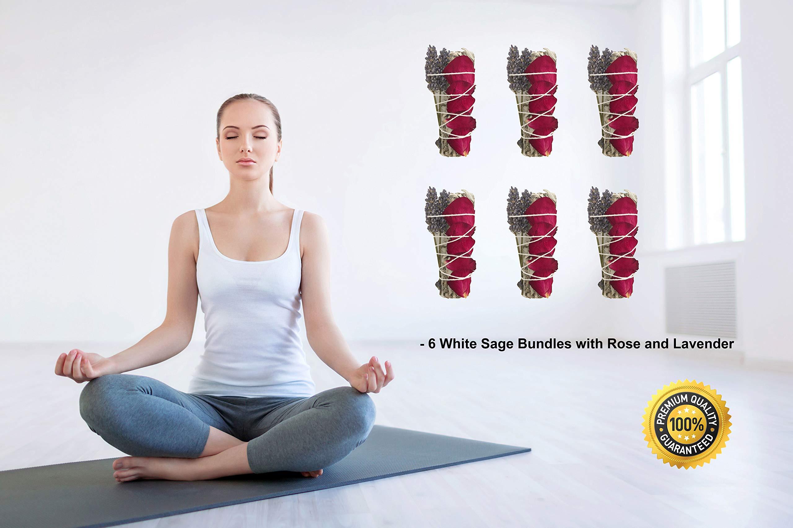 TOMOKO White Sage Smudge Kit - 6 White Sage with Rose and Lavender! Healing, Purifying, Meditating, Incense & Cleansing by TOMOKO (Image #2)