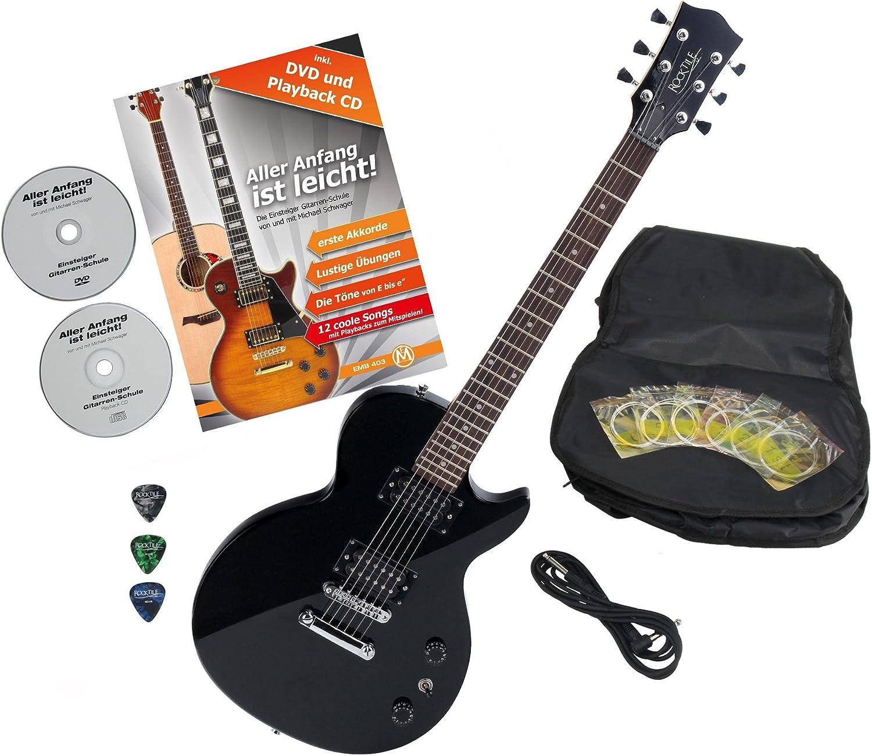 Rocktile L-100 BL guitarra eléctrica Black con accesorios: Amazon ...