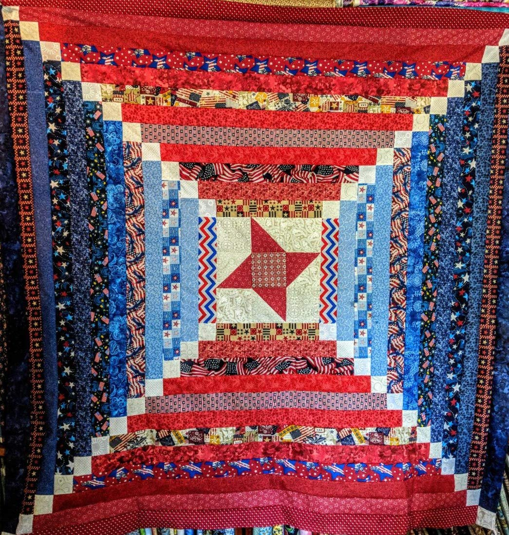 Quilt Kit Patriotic Courthouse Steps/Red White and Blue/Beginner by Material Maven