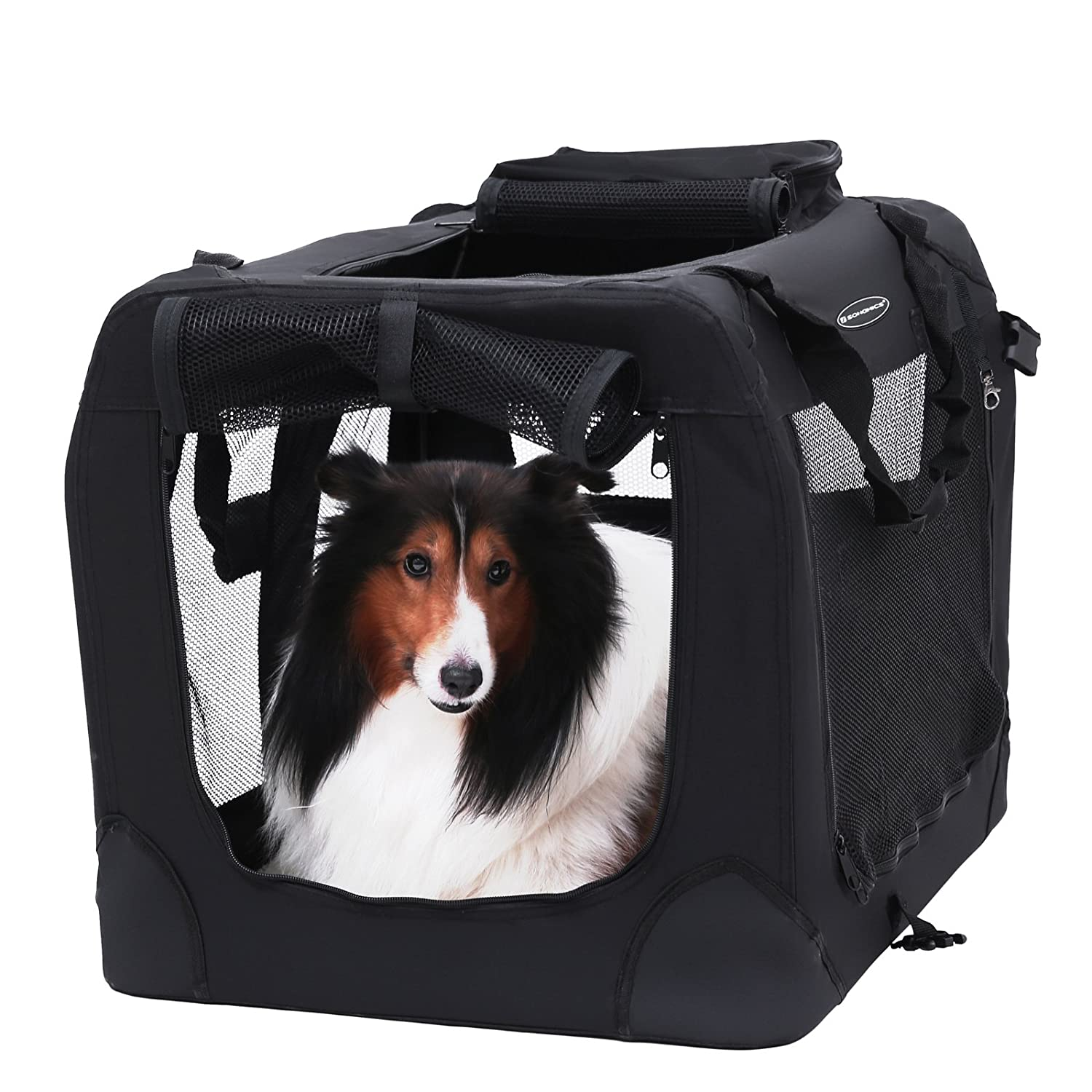 Songmics Folding Portable Soft Fabric Pet Carrier Black - XXL 91 x 63 x 63 cm PDC90H