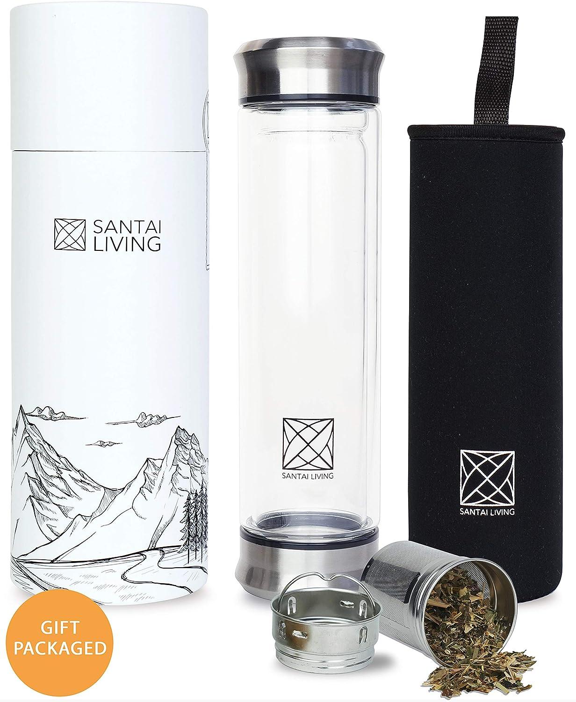 Santai Living Botella Térmica para Té de Vidrio de borosilicato ...