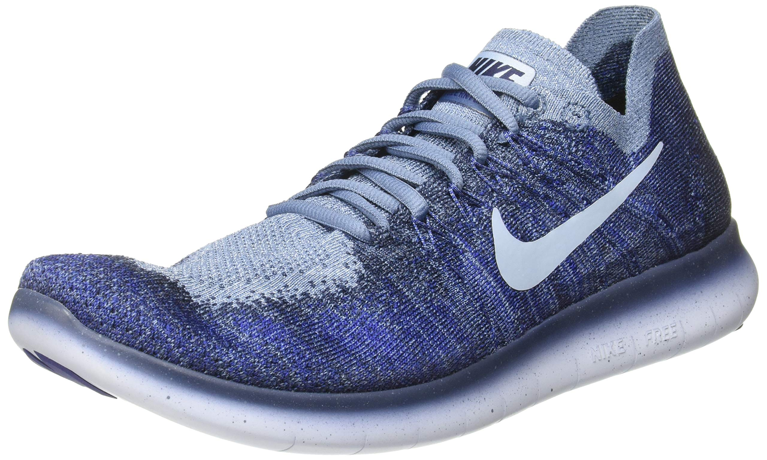 Nike Men's Free RN Flyknit 2017 Running Shoe Ocean FogCirrus Blue College Navy 9.0