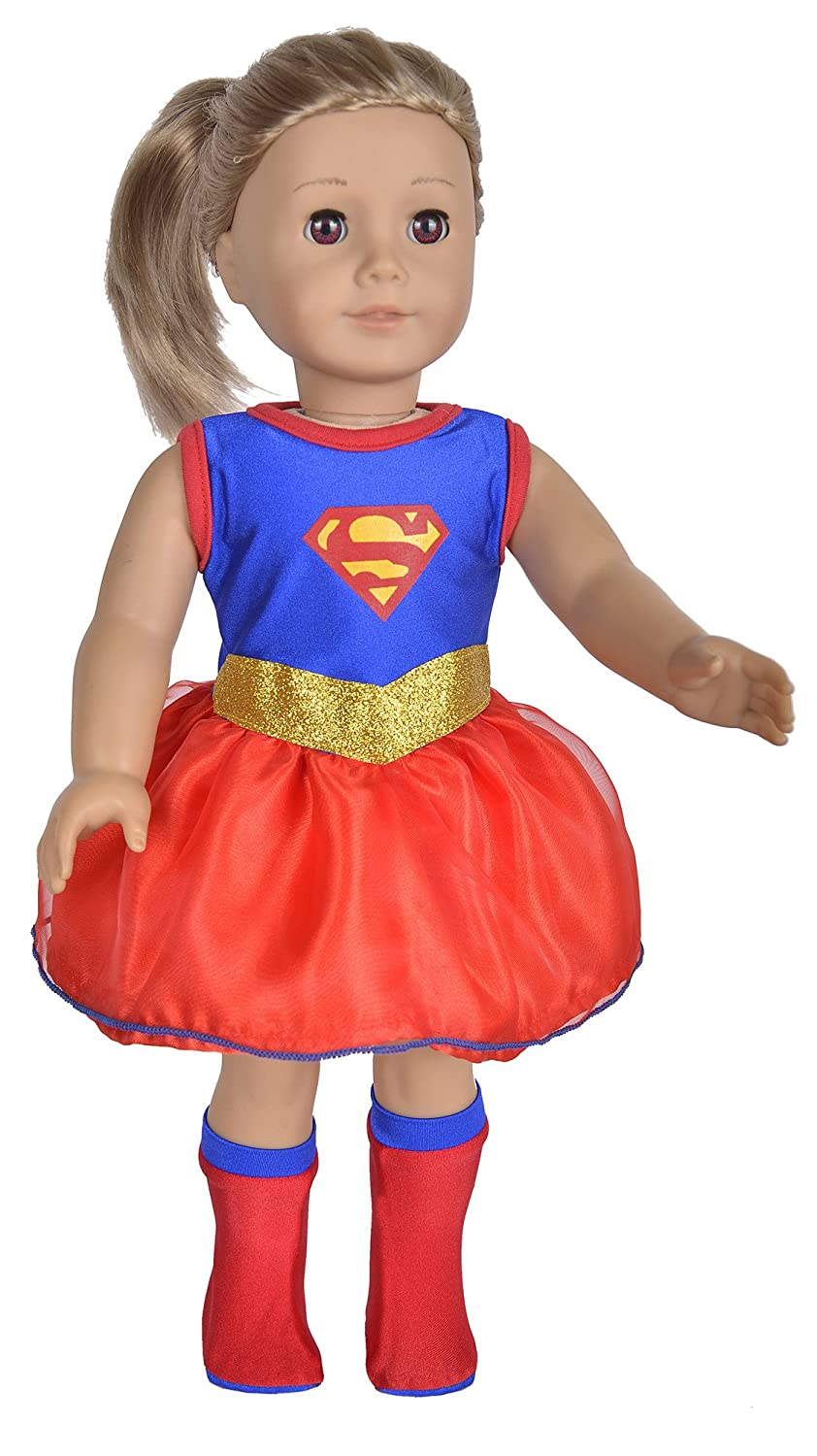 ebuddy Super Girl Hero Set Include Cloak Dress and Stocking Clothes Fits 18 Inch Doll