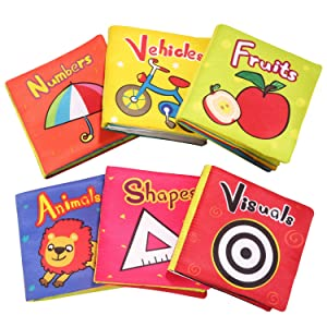 TOP BRIGHT Baby Toys 6 to 12 Months - Soft Crinkle Baby Books for Infants Girl Toy for 1 Year Old Toddlers (Pack of 6)