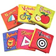 Baby Toys 6 to 12 Months Soft Cloth Baby Books for Infants Boys and Girls Educational Toys (Pack of 6)
