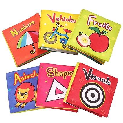 Top Bright Bebe Jouet Livres En Tissu Jouet Livre Doux Pour Bebe De 1 An Bebe Cadeau Jouet Livre D Eveil Educatif De 6 12 Mois 6 Pieces