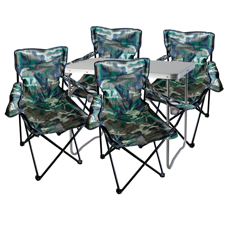 Mojawo 5tlg. Camping Juego de Muebles de Aluminio (70 x 50 x 59 cm 1 ...