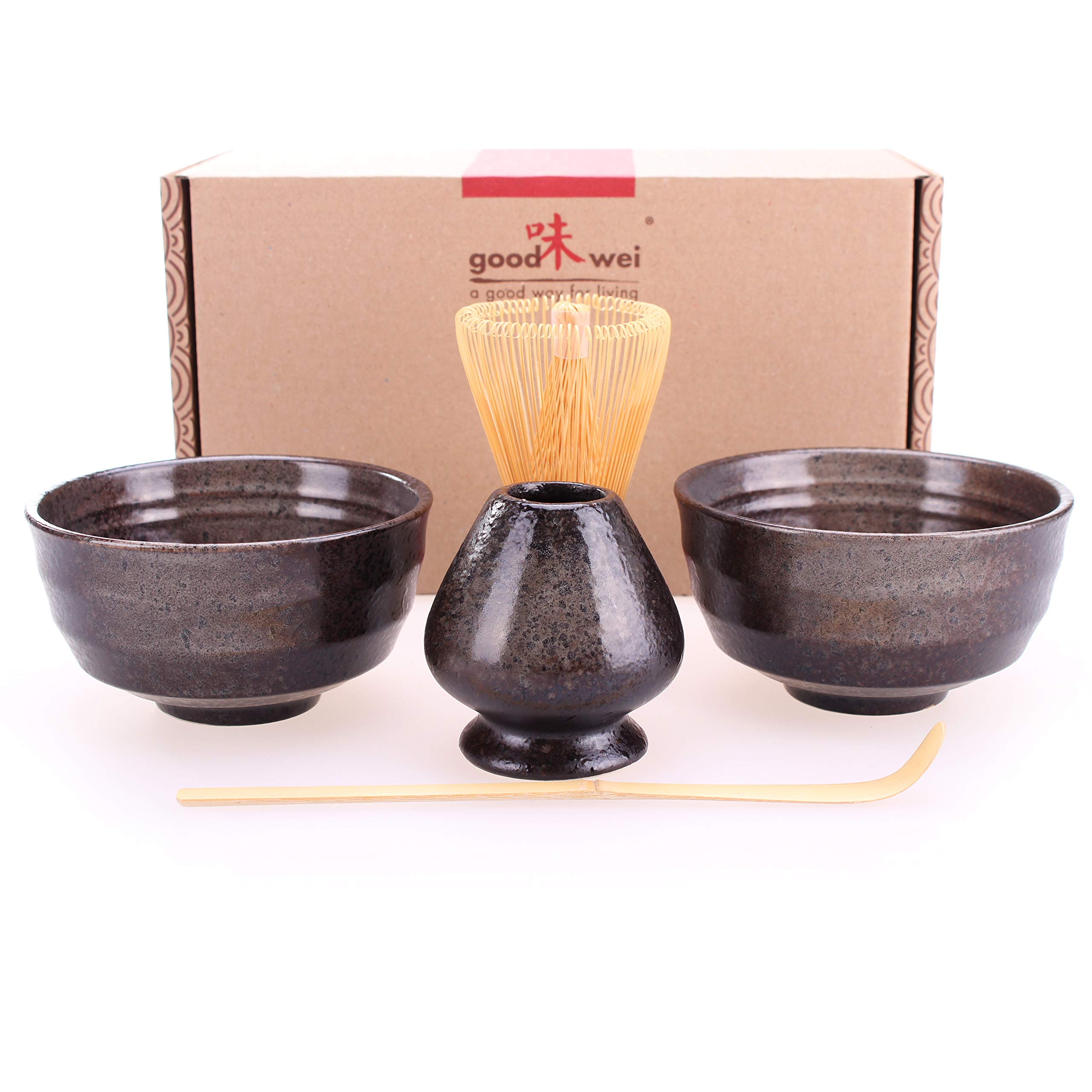 Goodwei Japanese Matcha Tea Ceremony Duo-Set for Two with Chasentate (Black)