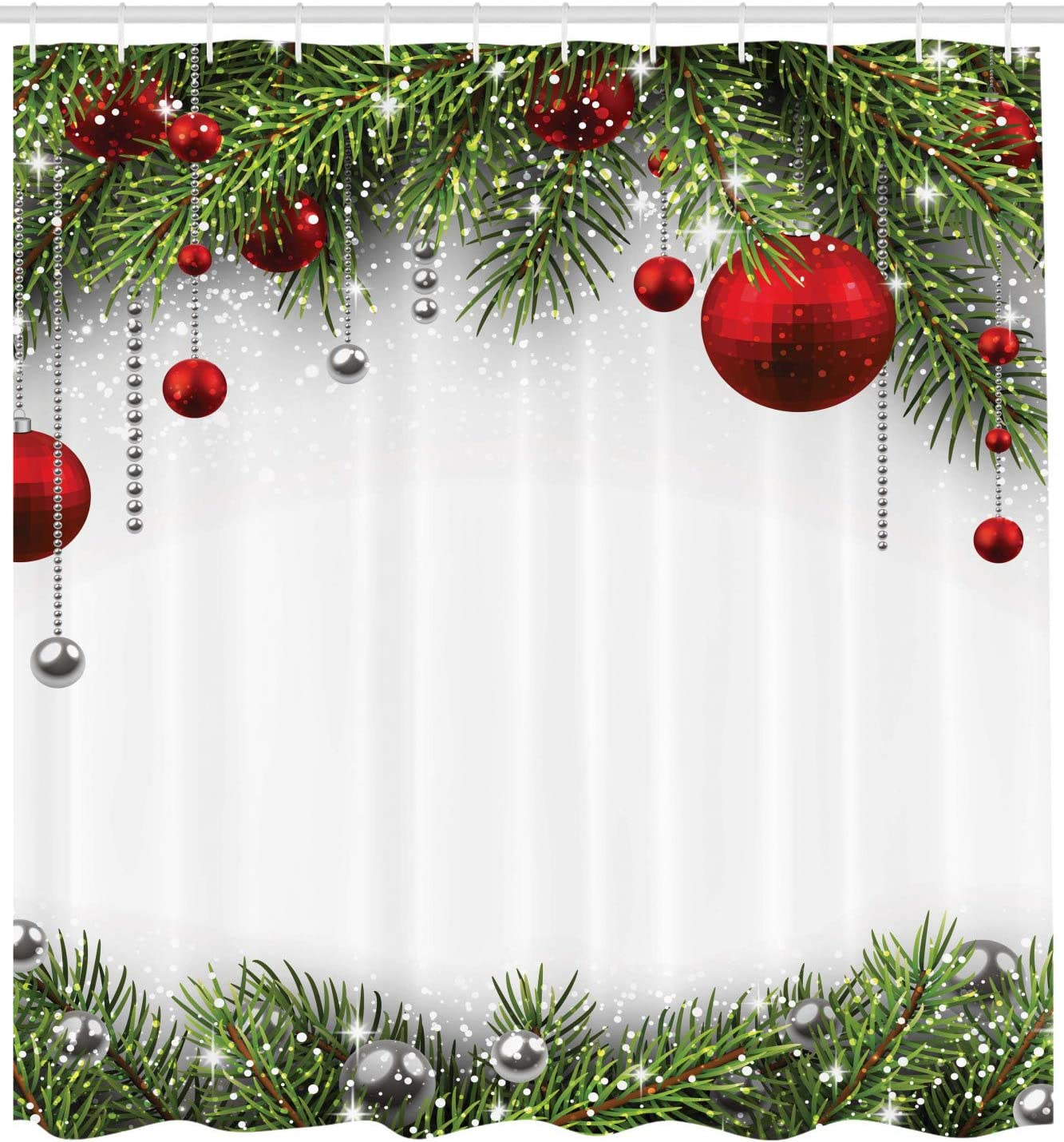 Cloth Fabric Bathroom Decor Set with Hooks Ambesonne Christmas Shower Curtain 70 Long Pine Leaves Ball
