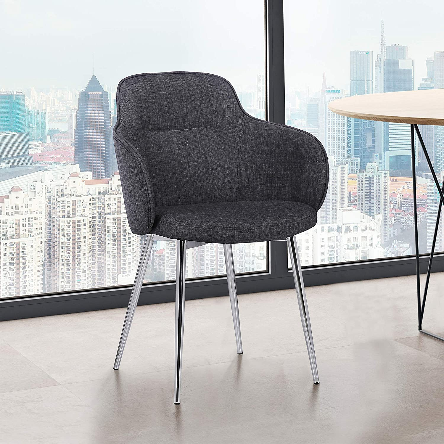 Armen Living Tammy Dining Chair, Chrome Finish and Charcoal Fabric