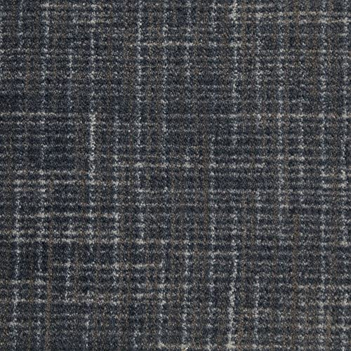 Koeckritz 12 x14 Stitches Brushed Denim Indoor Cut Pile Pattern Area Rug for Home with Premium Bound Polyester Edges.