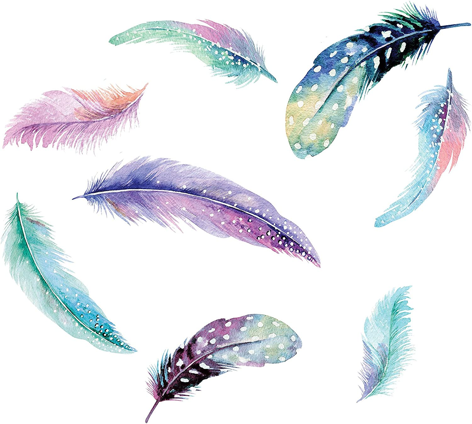 WallPops DWPK2462 Celestial Feathers Wall Art Kits, Multi-Color