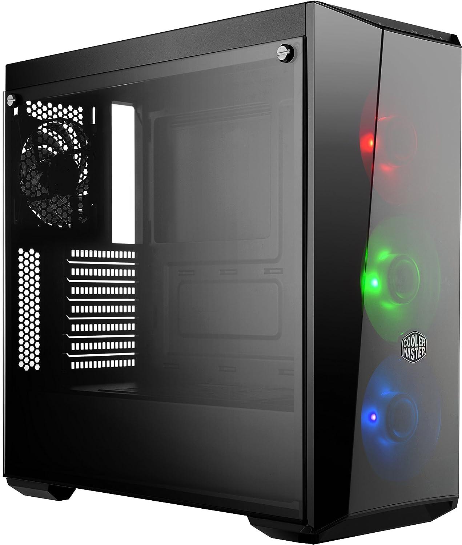 Cooler Master MasterBox Lite 5 RGB Cajas de ordenador de sobremesa, ATX, Micro-ATX, Mini-ITX, Incluye 3 ventiladores RGB de 120 mm, Panel lateral de vidrio templado, MCW-L5S3-KGNN-02