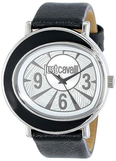 Just Cavalli Lac R7251186502 - Reloj analógico de cuarzo para mujer, correa de cuero color negro: Amazon.es: Relojes