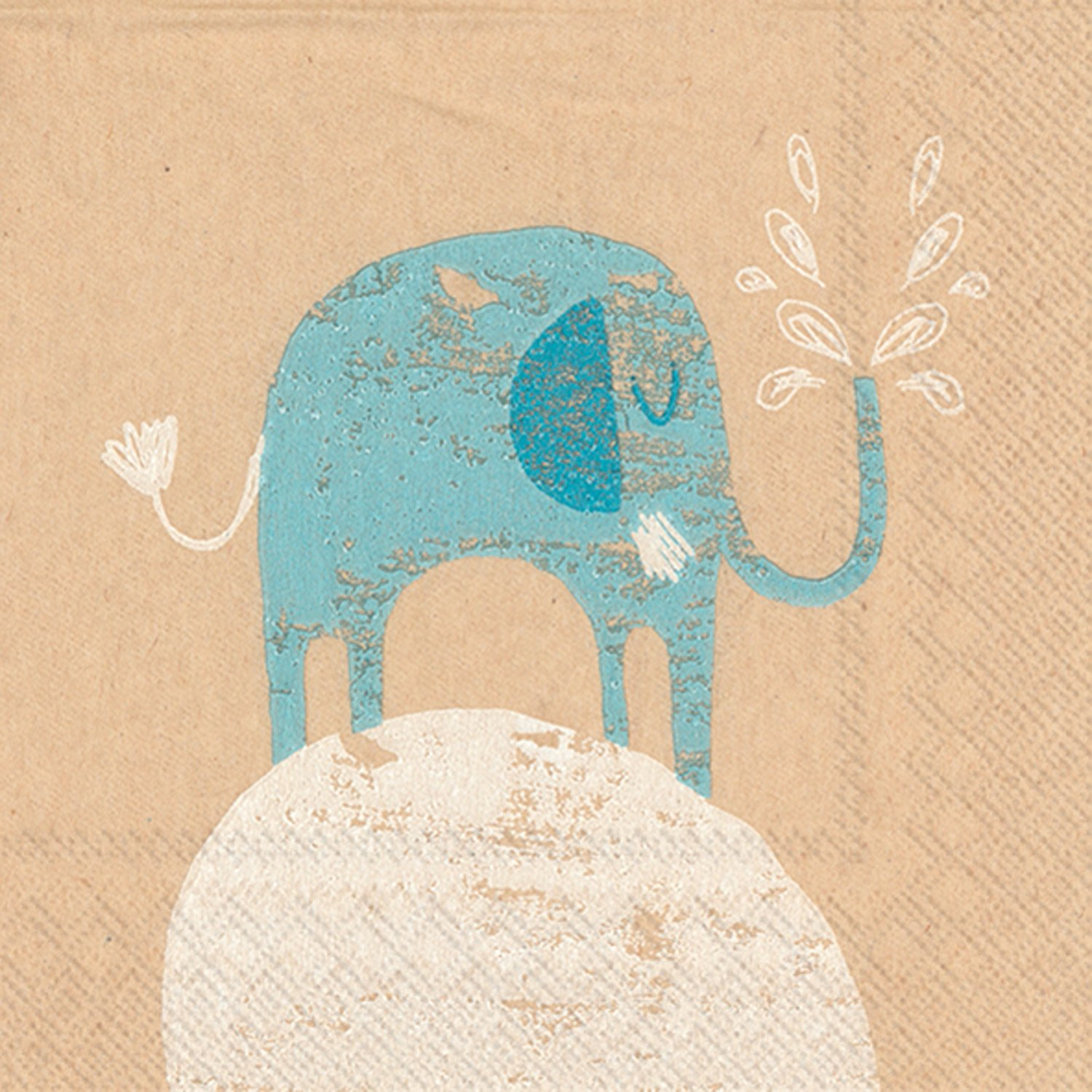 Celebrate the Home Brown Paper 3-Ply Paper Cocktail Napkins, Little Elephant, 20 Count