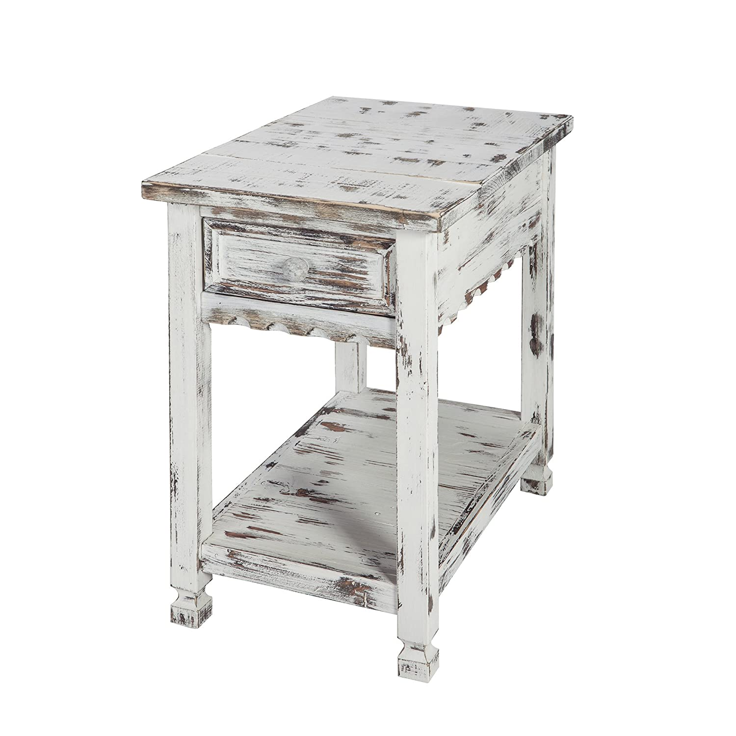 Rustic Cottage Chairside End Table with 1 Drawer and 1 Shelf, White Antique
