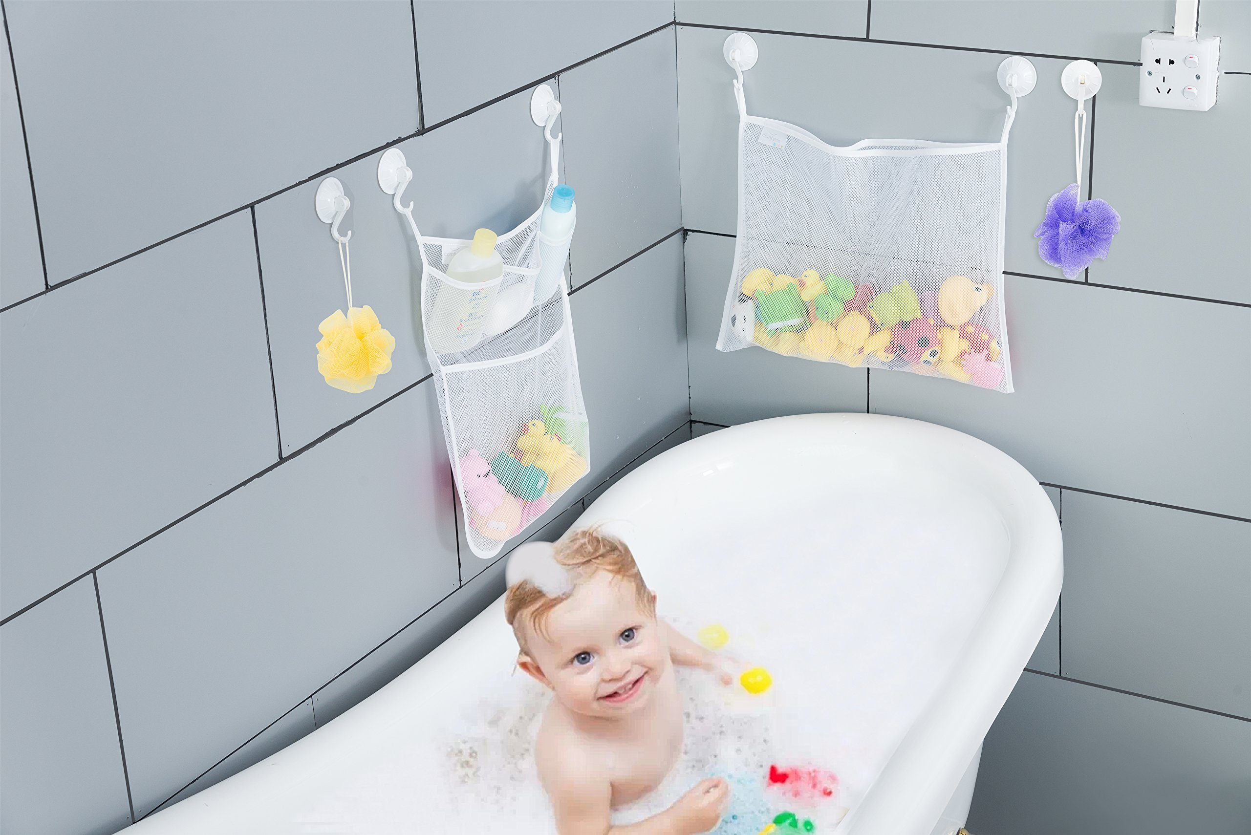 2 x Mesh Bath Toy Organizer + 6 Ultra Strong Hooks – The Perfect Net ...
