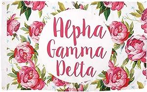 Alpha Gamma Delta Rose Pattern Letter Sorority Flag 3 feet x 5 feet Banner Greek Sign Decor Alpha Gam (Flag - Rose)