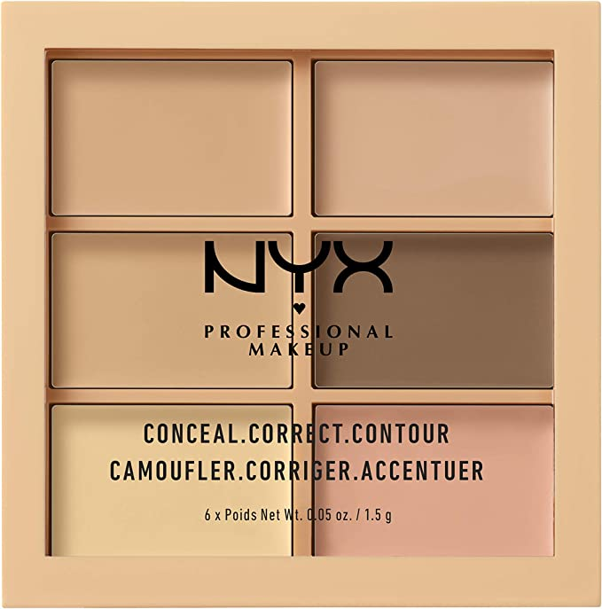 NYX Professional Makeup Paleta de correctores y contouring Conceal, Correct, Contour Palette, 6 sombras, Textura cremosa, Tono: Light: Amazon.es: Belleza