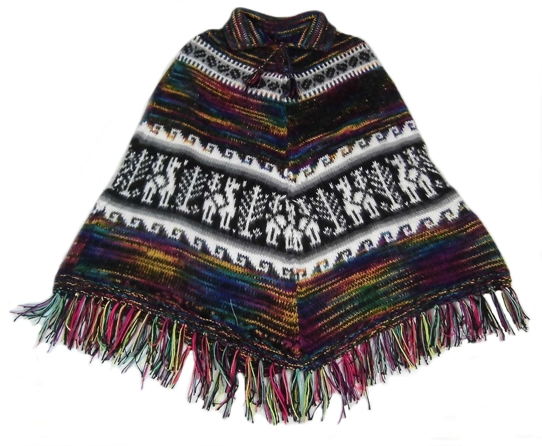 Alpacaandmore Damen Poncho Cusquena peruanische Alpakawolle Einheitsgroesse