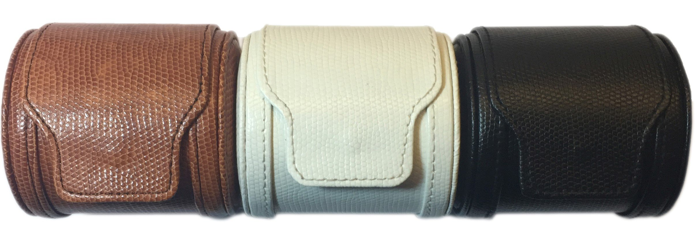 Single Travel Watch Case - Brown - Faux Leather