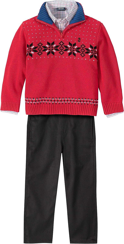 Izod Boys Toddler 3-Piece Sweater and Pants Set Dress Shirt