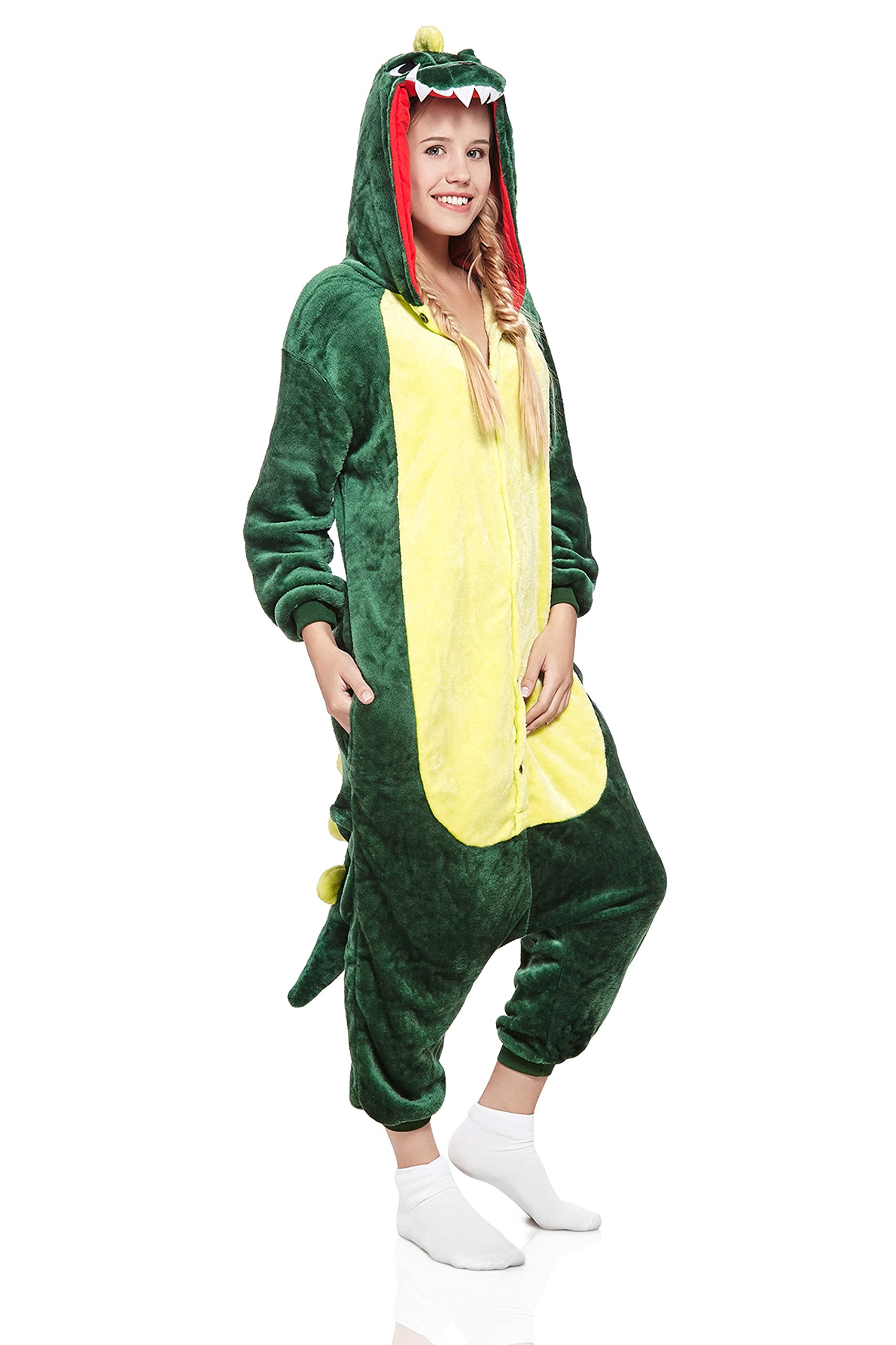 Adult Dragon Kigurumi Animal Onesie Pajamas Plush One Piece Cosplay Costume (Medium, Green)