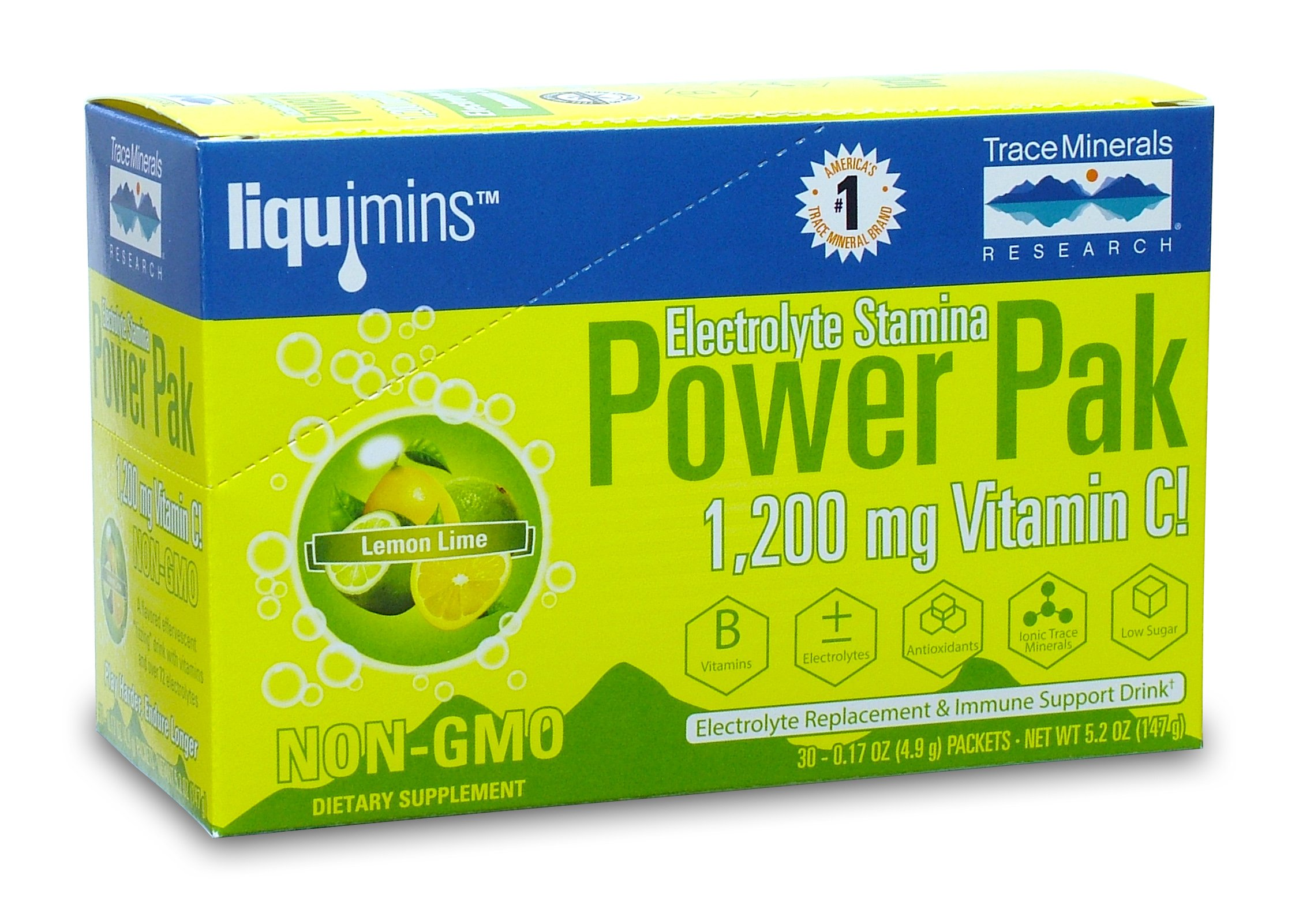 Trace Minerals Research Electrolyte Stamina Power Pak, Lemon Lime 30 Count, (Pack of 2)