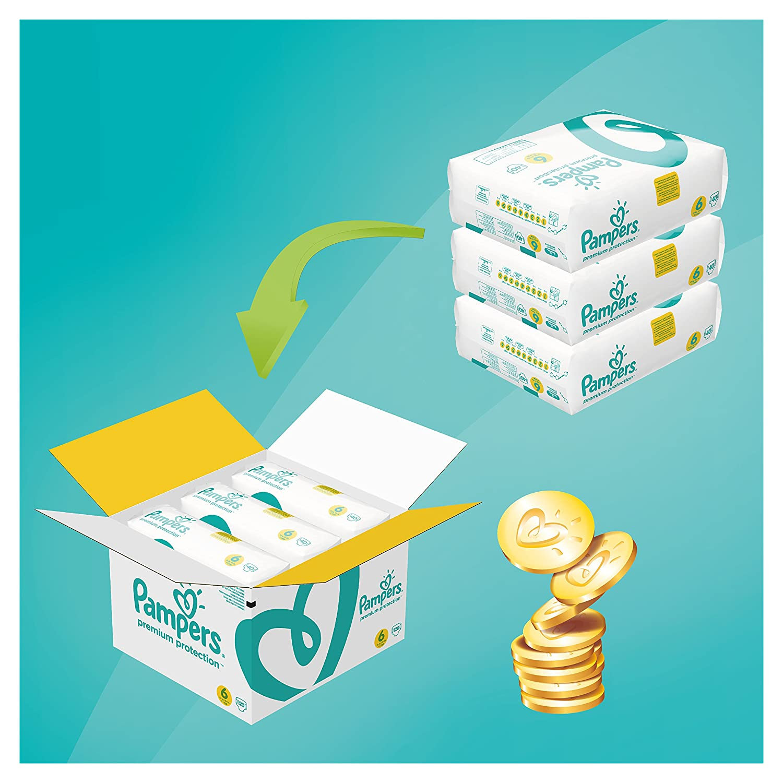 Pampers - Protección Premium - Pañales Tamaño 6 (13 + / 15 + kg) - Paquete de 1 mes (x120 pañales): Amazon.es: Salud y cuidado personal