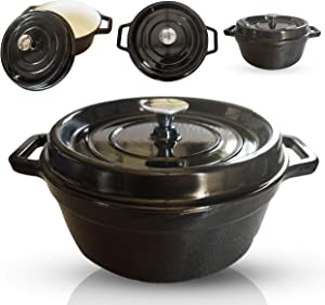 6-Quart Enameled Cast Iron Dutch Oven - Even Heat Distribution and Retention, Easy to Clean Surface, Pre-seasoned Cast Iron Enameled Cookware, Healthy Cooking, Black