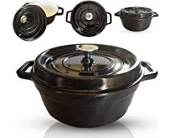 6-Quart Enameled Cast Iron Dutch Oven - Even Heat Distribution and Retention, Easy to Clean Surface, Pre-seasoned Cast Iron E