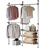 SoBuy FRG34 Regalsystem mit 3 Körben und 3 Kleiderstangen WandmontageTeleskop Garderoben System Verstellbares Ordnungssystem