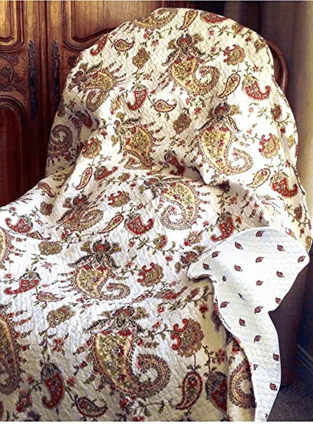 Cozy Line Home Fashions Peace of Mind Burgundy Gold Paisley Print Reversible 100% Cotton Quilted