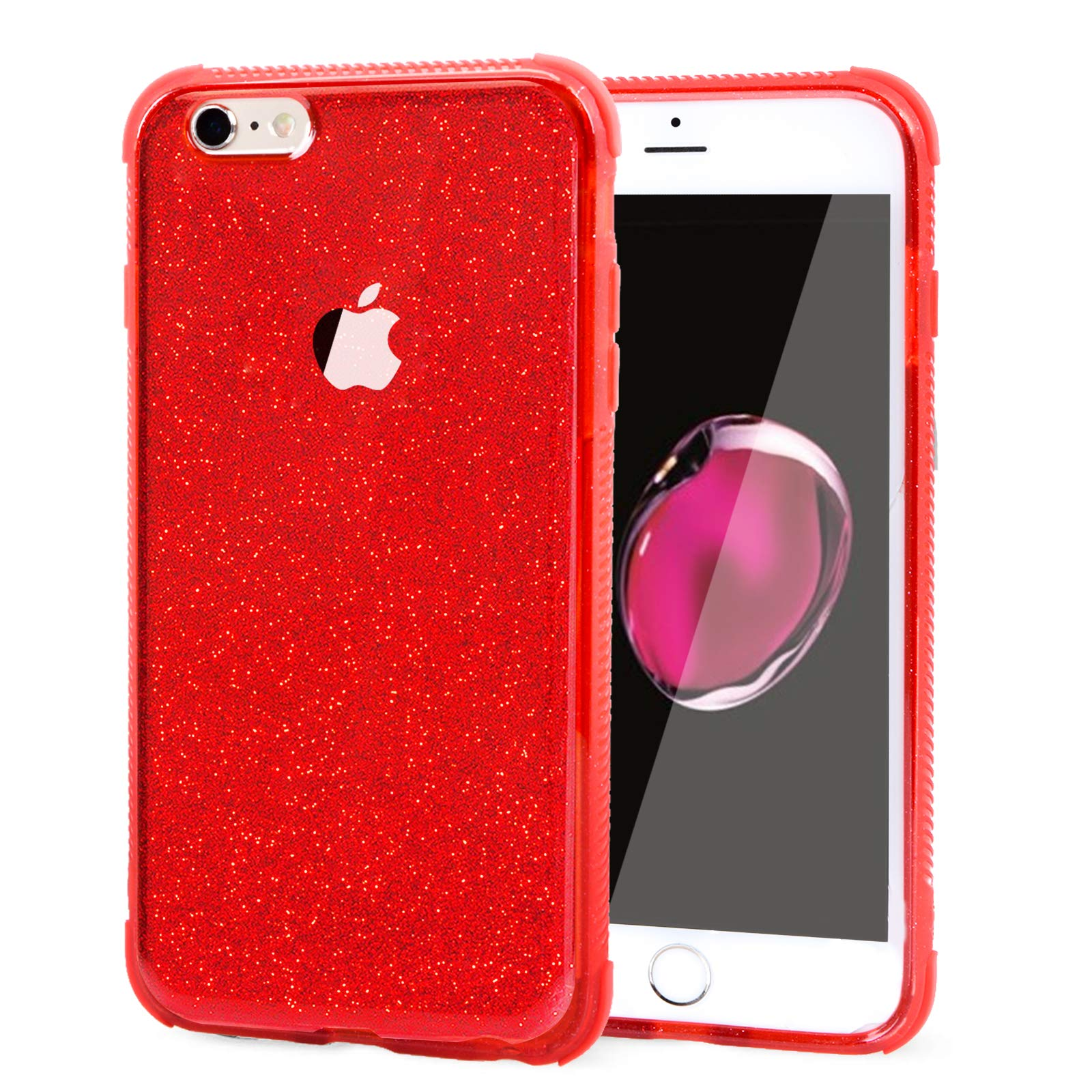 Voilamart iPhone 6 Case, iPhone 6s Case Bling Shiny Cute Pattern Design Sparkle Glitter Anti-Slick/Protective Case for iPhone 6/6s 4.7 Inch, Red