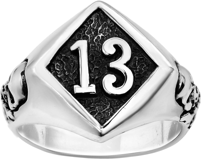 AeraVida Lucky Number 13 Round Skull .925 Sterling Silver Ring
