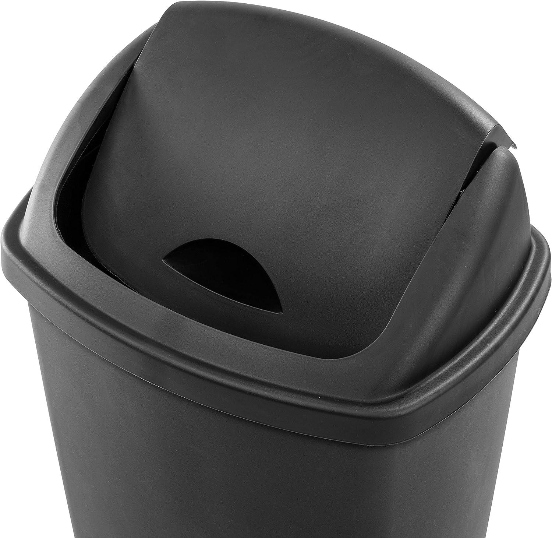 STERILITE 10889004 13.2 Gallon//50 Liter SwingTop Wastebasket 4-Pack Black
