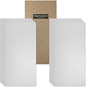 Genesis 2ft x 4ft Classic Pro Ceiling Tiles - Easy Drop-in Installation – Waterproof, Washable and Fire-Rated - High-Grade PVC to Prevent Breakage - Package of 10 Tiles