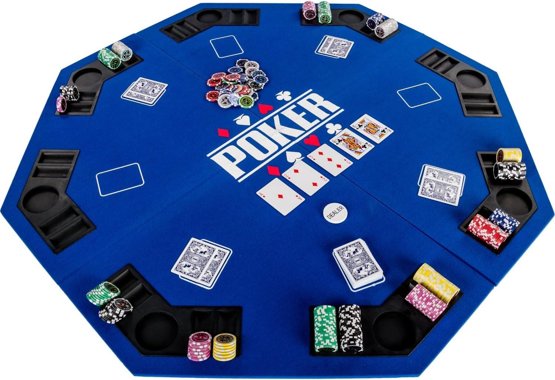 Maxstore Faltbare XXL Pokerauflage für bis zu 8 Spieler Maße 160x80 cm 8 Getränkehalter MDF Platte 8 Chiptrays Maße 160x80 cm 8 Getränkehalter blau