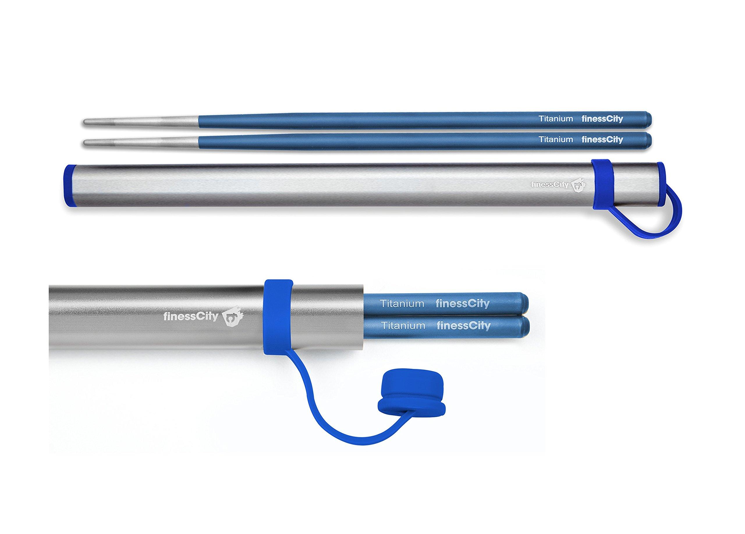 Chopsticks, 1 Pair of Titanium Chopsticks Ultra Lightweight Professional (Ti), Super Strong Healthy and Eco-Friendly 1 Pair of Chopsticks Comes with Free Aluminium Case (Blue)