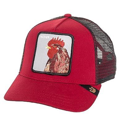 Amazon.com  Goorin Bros Mens  Pecker  Rooster Patch Trucker Cap Hat (Red)   Clothing 8bb3fb40b9a