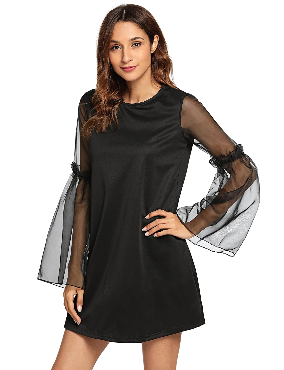 Black3 Verdusa Women's Pearl Beaded Tie Neck Mesh Bishop Sleeve Dress