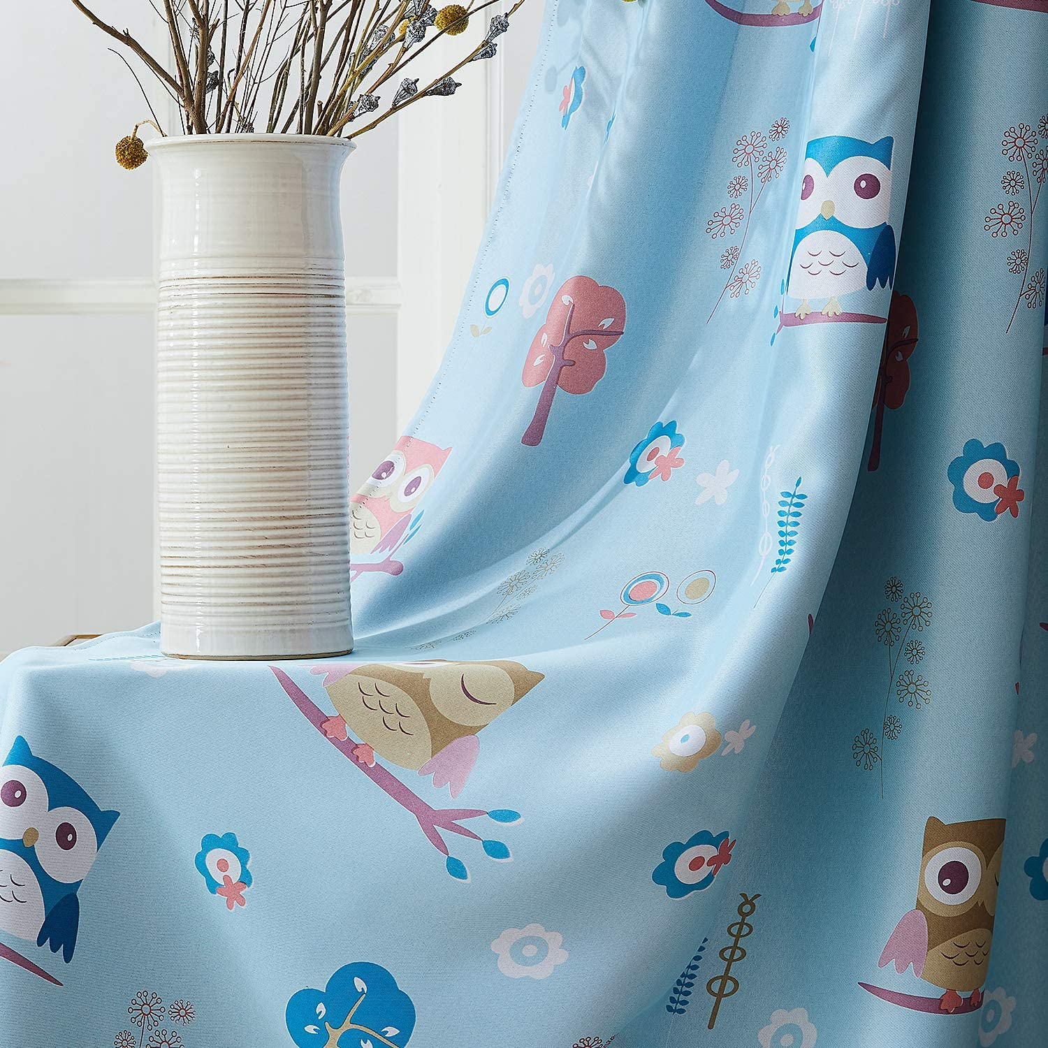 Set of 2 Panels Blue Topfinel Printed Kids Curtains Semi Blackout for Children Bedroom Eyelet Thermal Insulated Room Darkening Cute Owl Patterned Curtains for Nursery 46x54 Inch Drop 117cmx137cm