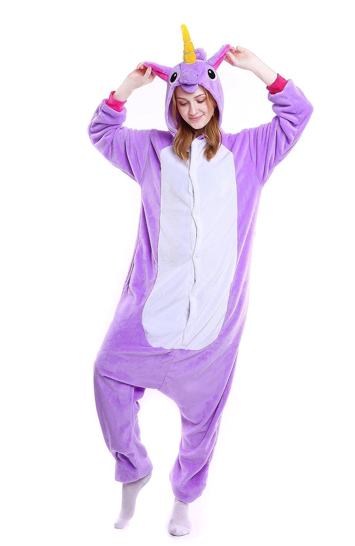 Oksakady Adulto Unisex Unicornio Onesies Franela Cosplay Animales Pijamas  Con Capucha Ropa de Dormir  Amazon 546fd4072e6d