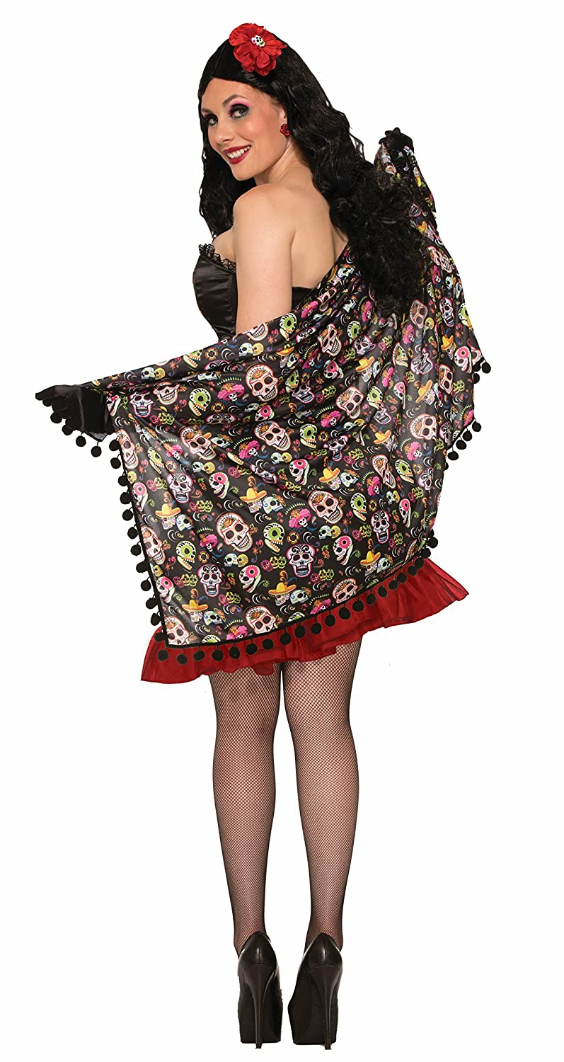 Forum Women's Day Of The Dead Shawl Multi One Size Forum Novelties Costumes 74665
