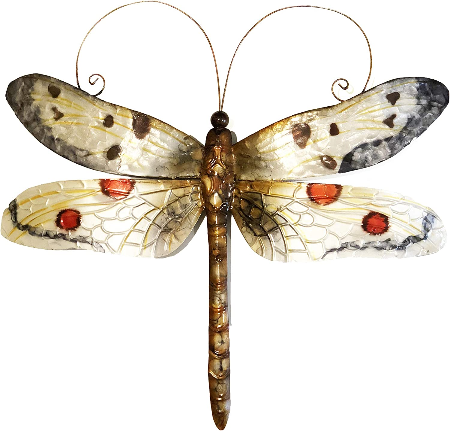 Eangee Home Design Dragonfly Wall Decor White And Red 14 Inches Length x 1 Inch Width x 12 Inches Height (m4026)