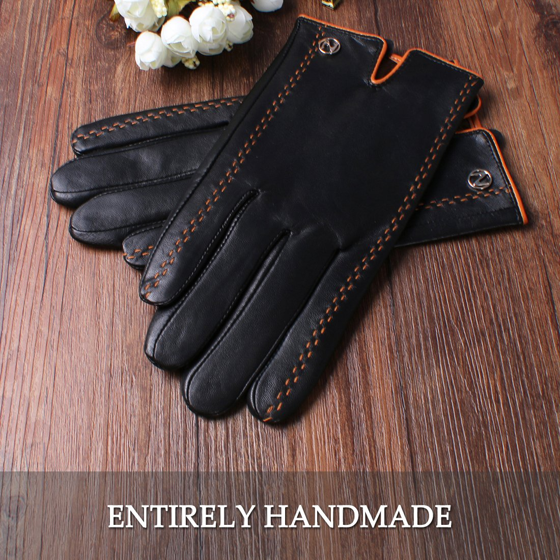 Nappaglo Men's Italian Nappa Leather Gloves Touchscreen Lambskin Warm Gloves with Lines of Hit Color (S (Palm Girth:up to 8''), Black (Touchscreen)) by Nappaglo (Image #4)