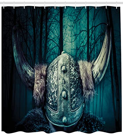 Lunarable Viking Shower Curtain Barbarian Warrior Head With Horns In Mystical Scandinavian Forest Fabric