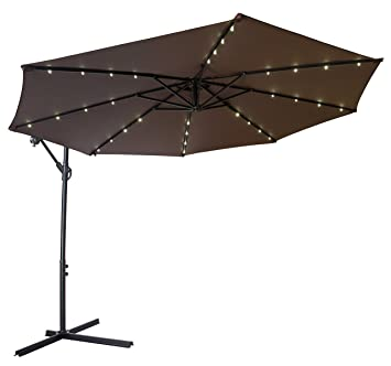 Trademark Innovations Deluxe Polyester Offset Patio Umbrella With LED Lights,  10u0027, Dark Brown
