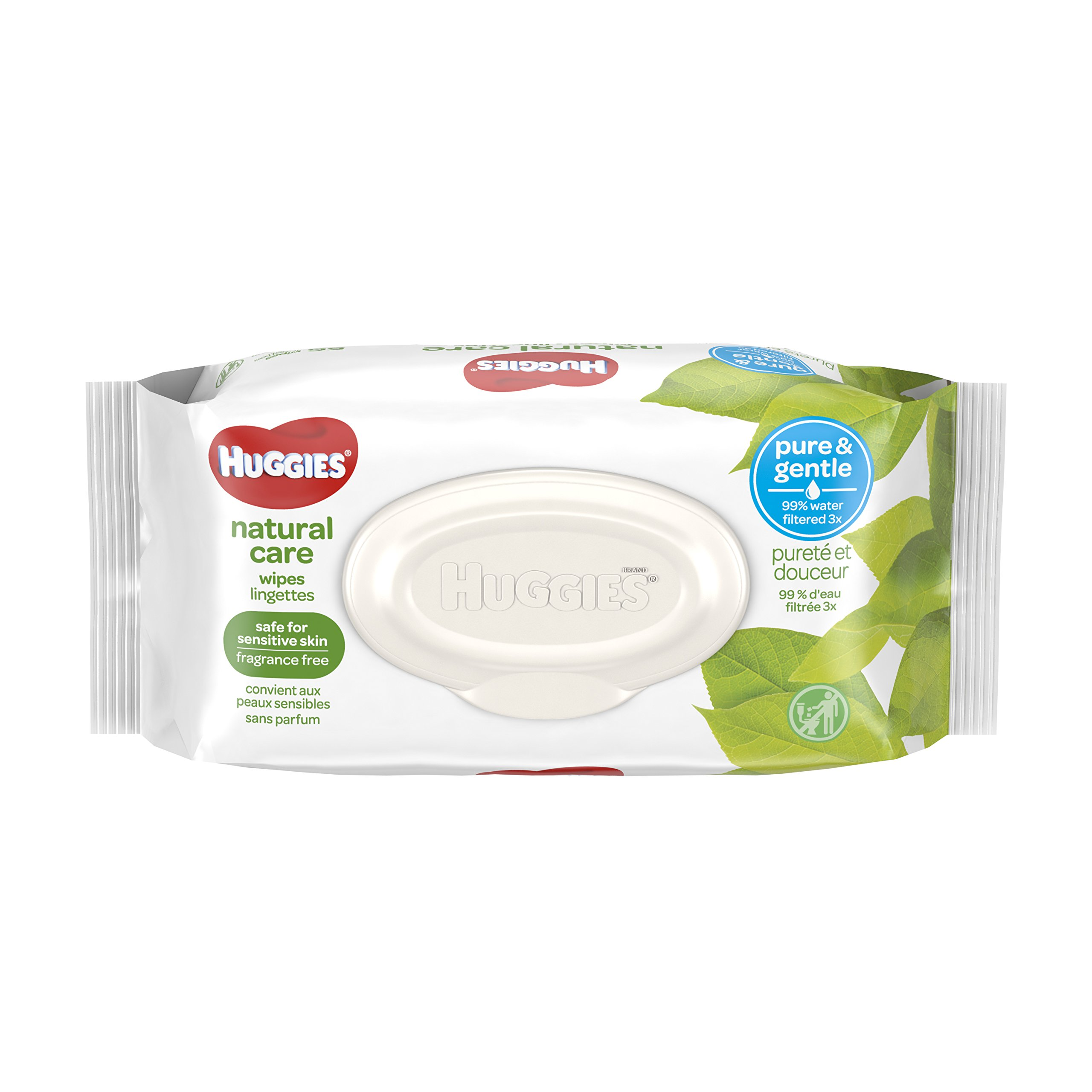 HUGGIES Natural Care Unscented Baby Wipes, Sensitive, Water-Based, 8 Flip-top Packs, 448 Count Total